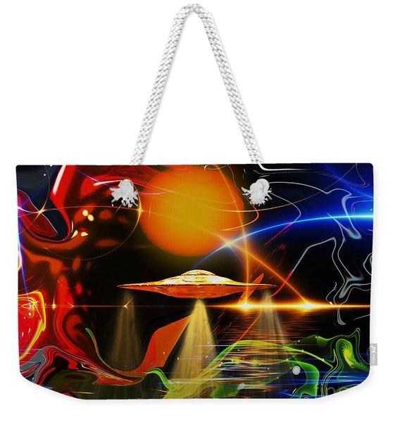 Weekender Tote Bag featuring the digital art Happy Landing by Eleni Mac Synodinos