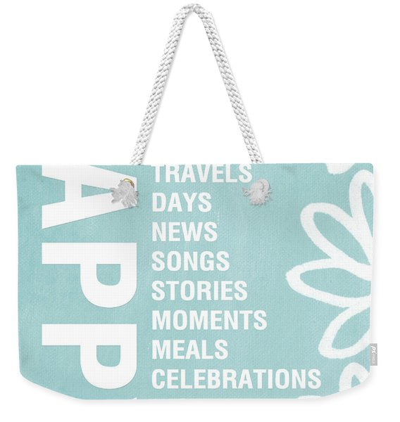 Happy Things Blue Weekender Tote Bag