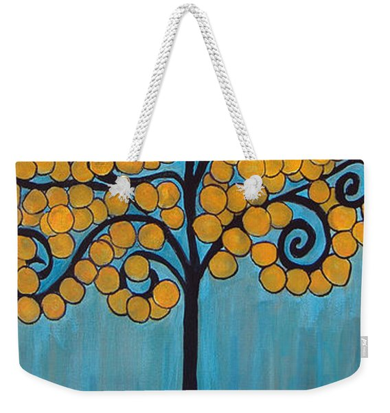 Happy Tree In Blue And Gold Weekender Tote Bag