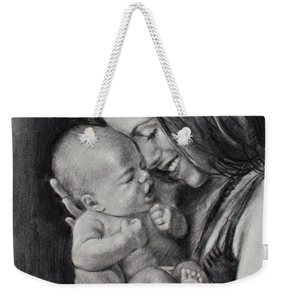 Happy Young Mother Weekender Tote Bag