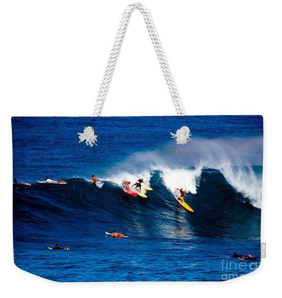 Hawaii Oahu Waimea Bay Surfers Weekender Tote Bag