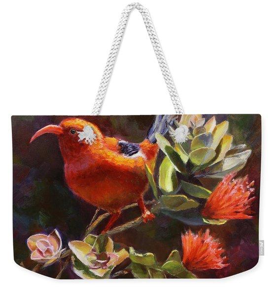 Hawaiian IIwi Bird And Ohia Lehua Flower Weekender Tote Bag