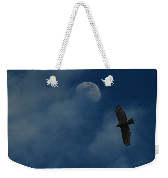 Hawk And Moon Coming Out Of The Mist Weekender Tote Bag