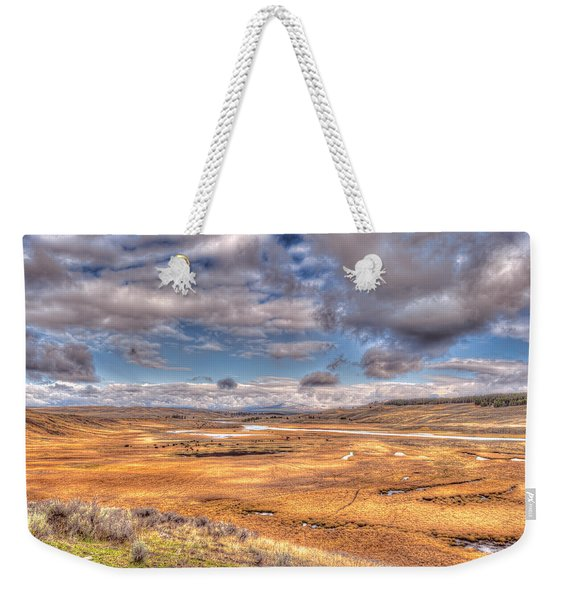 Hayden Valley Bison On Yellowstone River Weekender Tote Bag