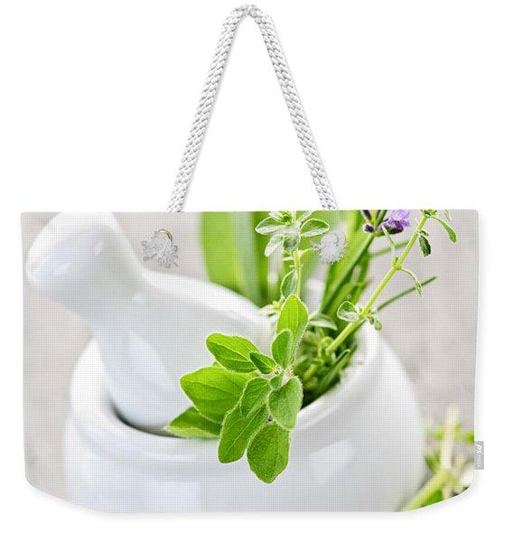Healing Herbs In Mortar And Pestle Weekender Tote Bag