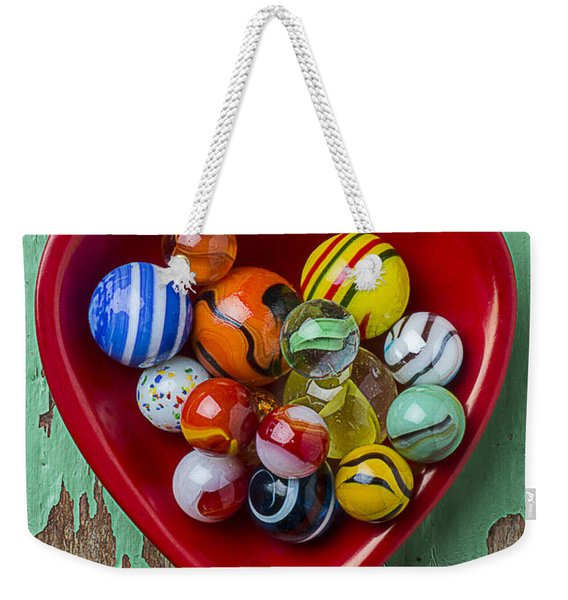 Heart Dish With Marbles Weekender Tote Bag