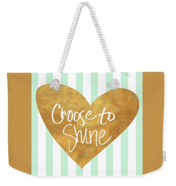 Heart On Mint Stripes IIi Weekender Tote Bag