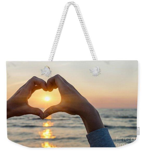 Heart Shaped Hands Framing Ocean Sunset Weekender Tote Bag
