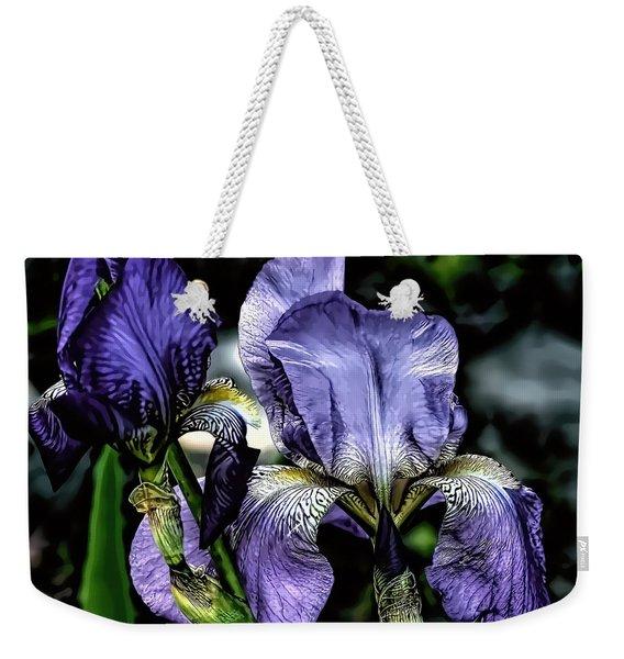 Heirloom Purple Iris Blooms Weekender Tote Bag