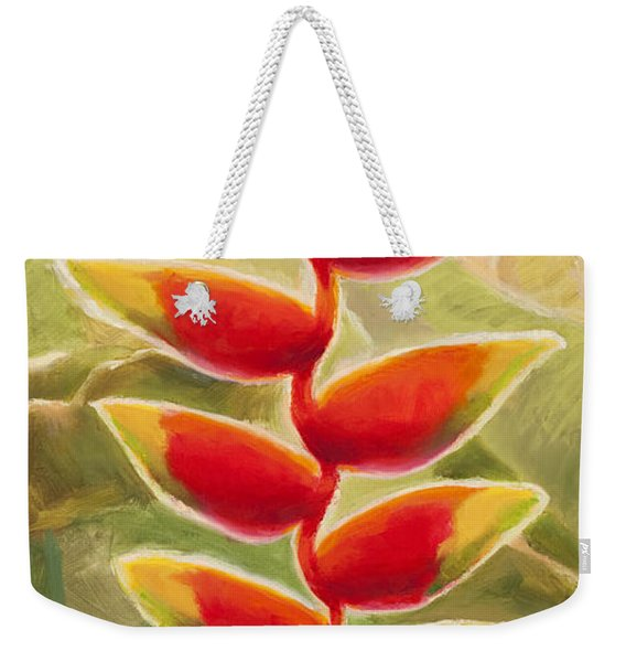 Heliconia Glow Tropical Jungle Floral Weekender Tote Bag