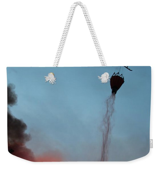 Helicopter Drops Water On White Draw Fire Weekender Tote Bag