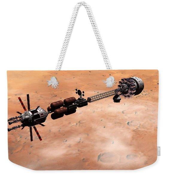 Hermes1 Over Mars Weekender Tote Bag