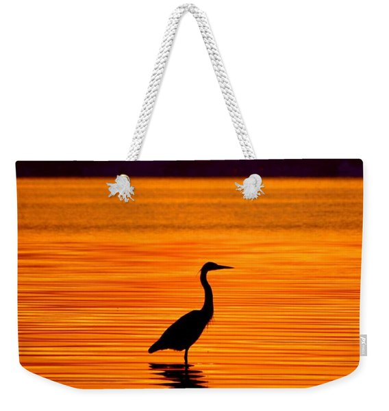 Heron With Burnt Sienna Sunset Weekender Tote Bag