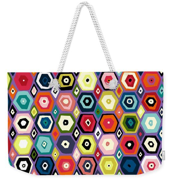 Hex Diamond Purple Weekender Tote Bag
