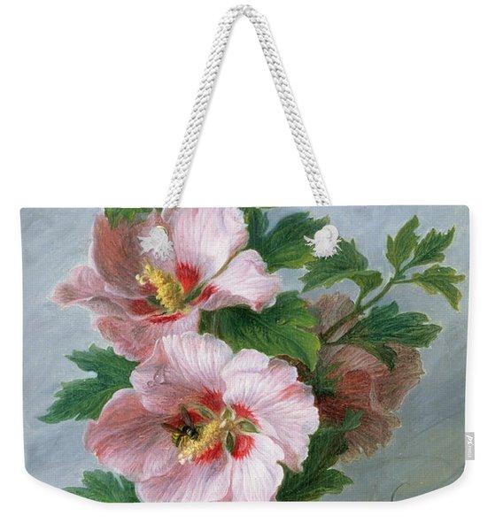 Hibiscus Against A Marble Ledge Weekender Tote Bag