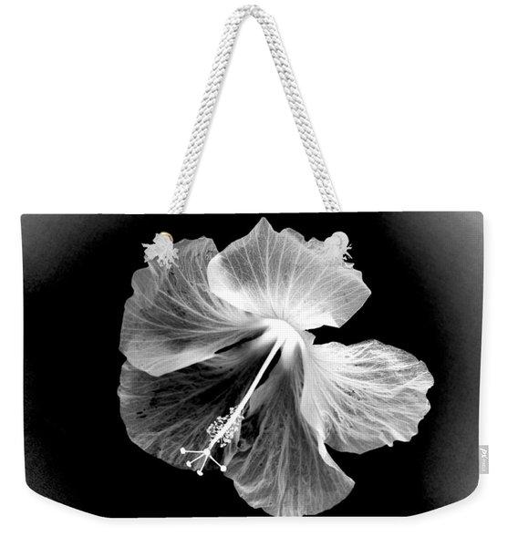 Hibiscus In Black And White Weekender Tote Bag