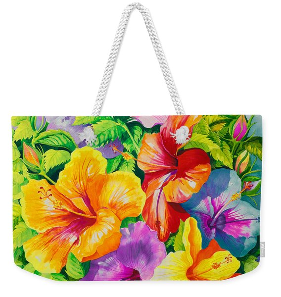 Hibiscus Rainbow Array Weekender Tote Bag
