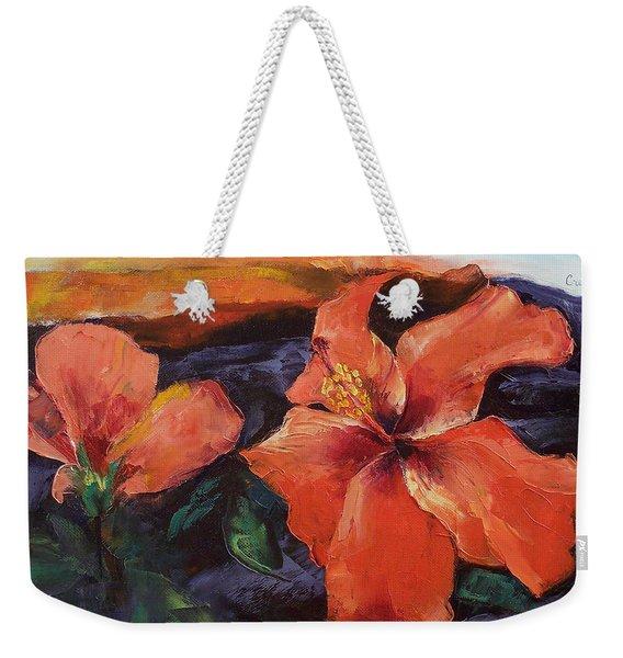 Hibiscus Volcano Weekender Tote Bag