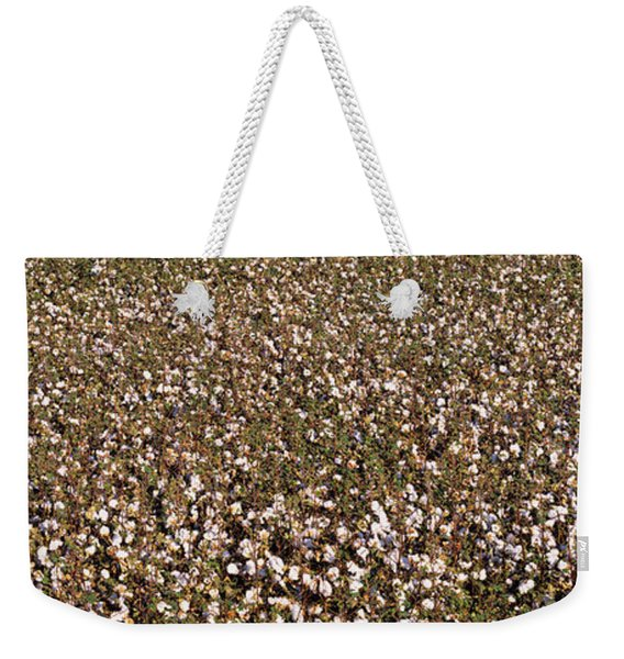 High Angle View Of A Cotton Field Weekender Tote Bag