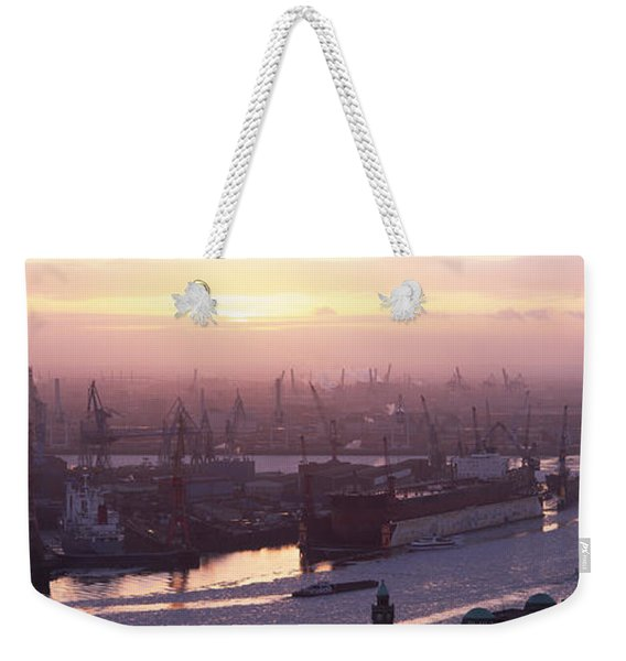 High Angle View Of Container Ships Weekender Tote Bag