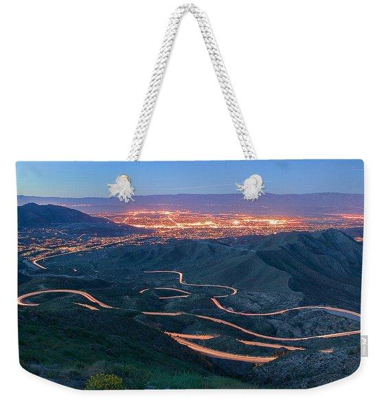 Highway 74 Palm Desert Ca Vista Point Light Painting Weekender Tote Bag