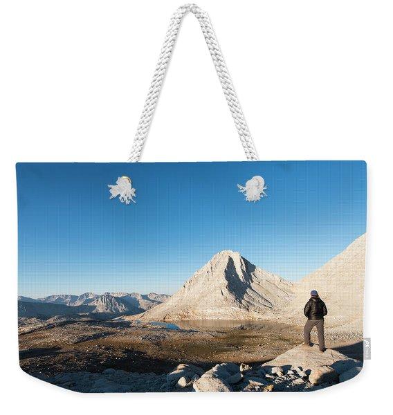 Hiker Looking Over Royce Lakes Weekender Tote Bag