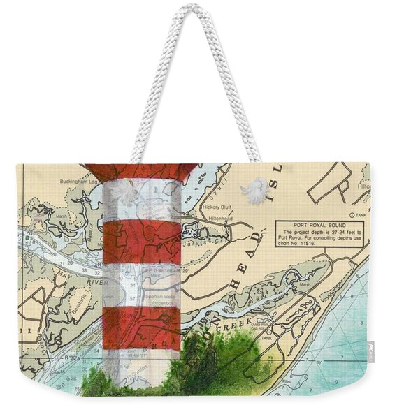 Hilton Head Island Lighthouse Sc Nautical Chart Map Art Cathy Peek Weekender Tote Bag