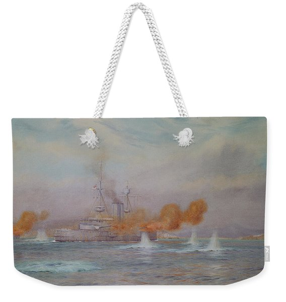 H.m.s. Albion Commanded By Capt. A. Walker-heneage Completing The Destruction Of The Outer Forts Weekender Tote Bag