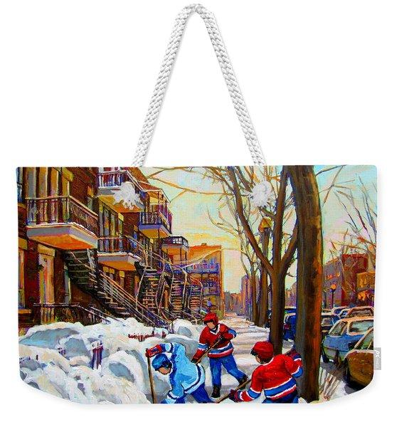 Hockey Art - Paintings Of Verdun- Montreal Street Scenes In Winter Weekender Tote Bag