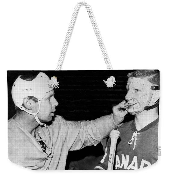 Hockey Goalie Inspects Mask Weekender Tote Bag
