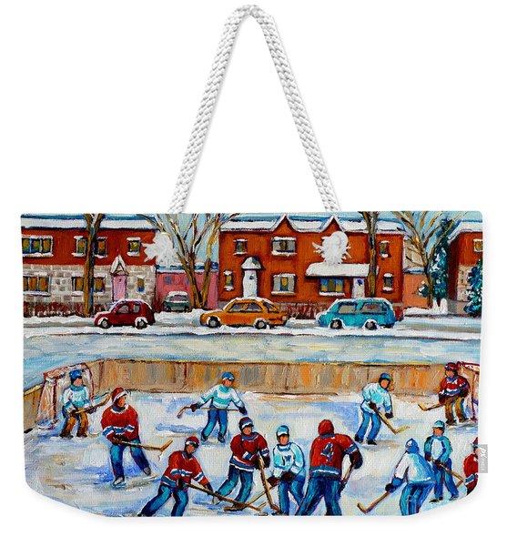 Hockey Rink At Van Horne Montreal Weekender Tote Bag