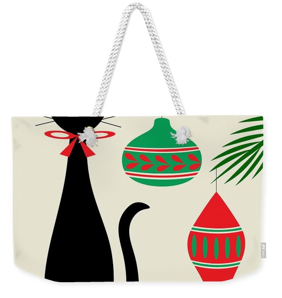 Holiday Cat On Cream Weekender Tote Bag