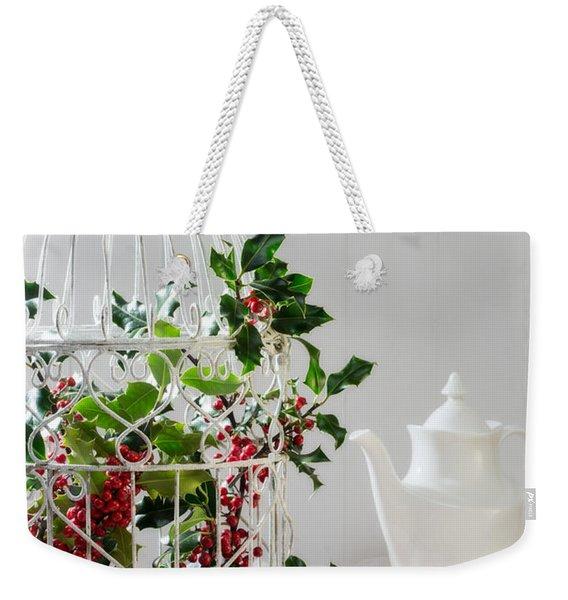Holly And Berries Birdcage Weekender Tote Bag