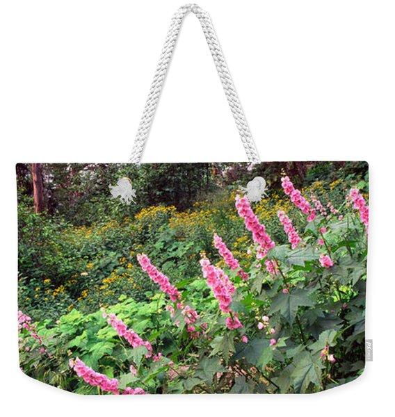 Hollyhock Alcea Rosea Flowers Weekender Tote Bag