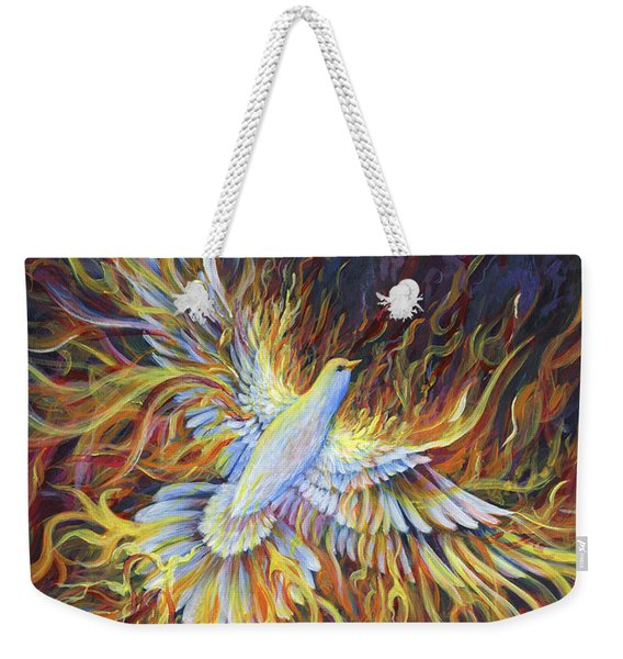 Weekender Tote Bag featuring the painting Holy Fire by Nancy Cupp