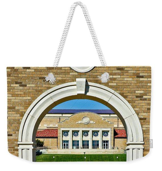 Weekender Tote Bag featuring the photograph Homecoming Bonfire Arch by Mae Wertz