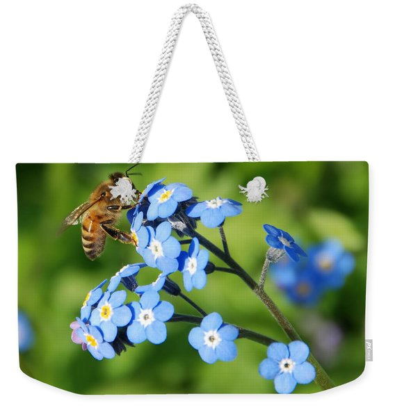 Honey Bee On Forget-me-not Flowers Weekender Tote Bag