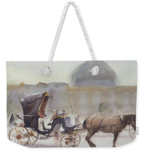 Horse And Carriage, Naghshe Jahan Square, Isfahan Wc On Paper Weekender Tote Bag