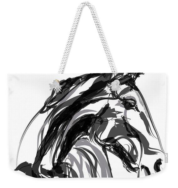 Horse- Apple -digi - Black And White Weekender Tote Bag