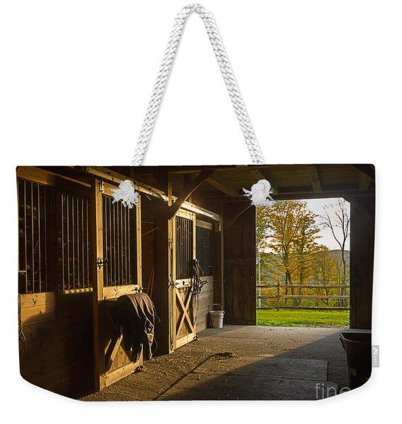 Horse Barn Sunset Weekender Tote Bag