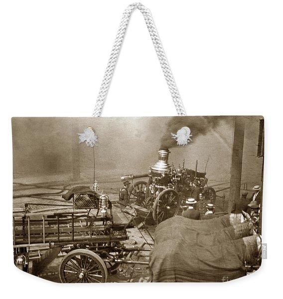 Horse Drawn Water Steam Pumper Fire Truck Circa 1906 Weekender Tote Bag