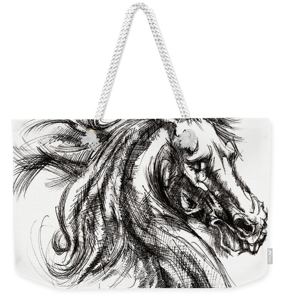Horse Face Ink Sketch Drawing - Inventing A Horse Weekender Tote Bag
