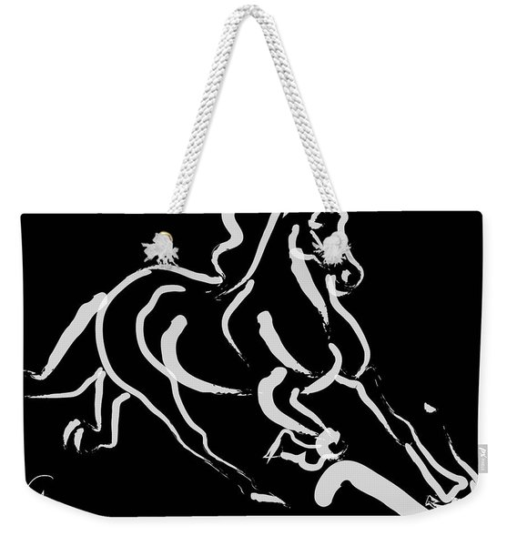 Horse - Fast Runner- Black And White Weekender Tote Bag