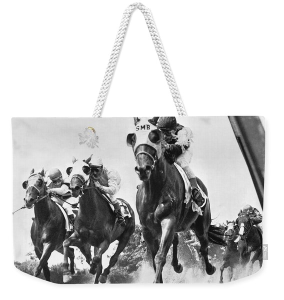 Horse Racing At Belmont Park Weekender Tote Bag