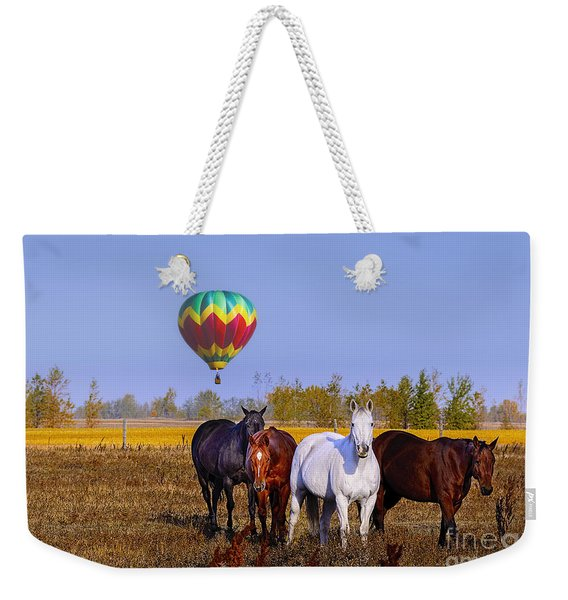 Horses And Air Balloon Weekender Tote Bag