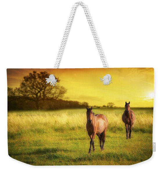 Horses At Sunset Weekender Tote Bag