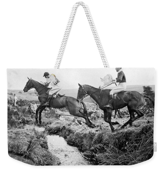 Horses Jumping A Creek Weekender Tote Bag