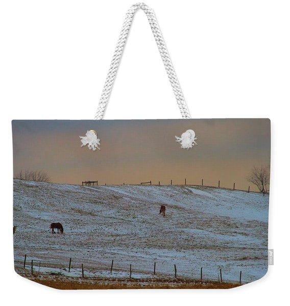 Horses On The Farm In Winter Weekender Tote Bag
