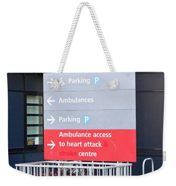 Hospital Sign Weekender Tote Bag