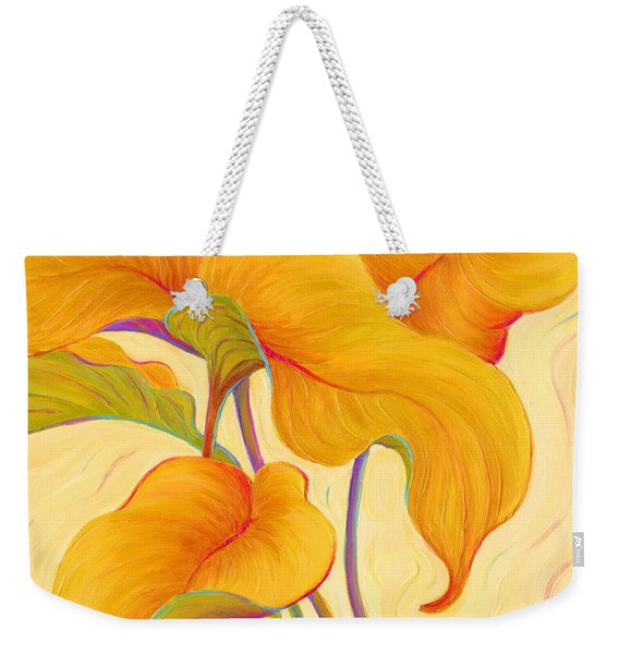 Weekender Tote Bag featuring the painting Hosta Hoofers by Sandi Whetzel